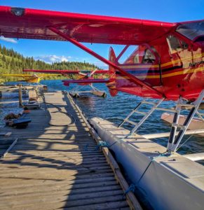 Floatplanes lined up at the dock in Whitehorse