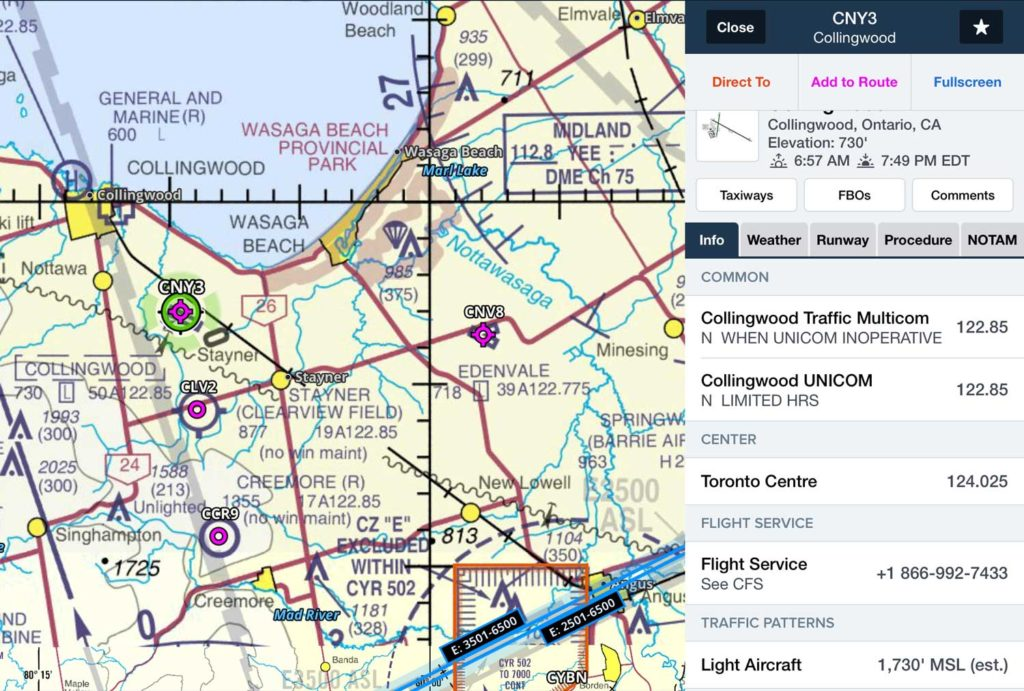 Where to fly when you're building time - Collingwood CNY3 Airport Information